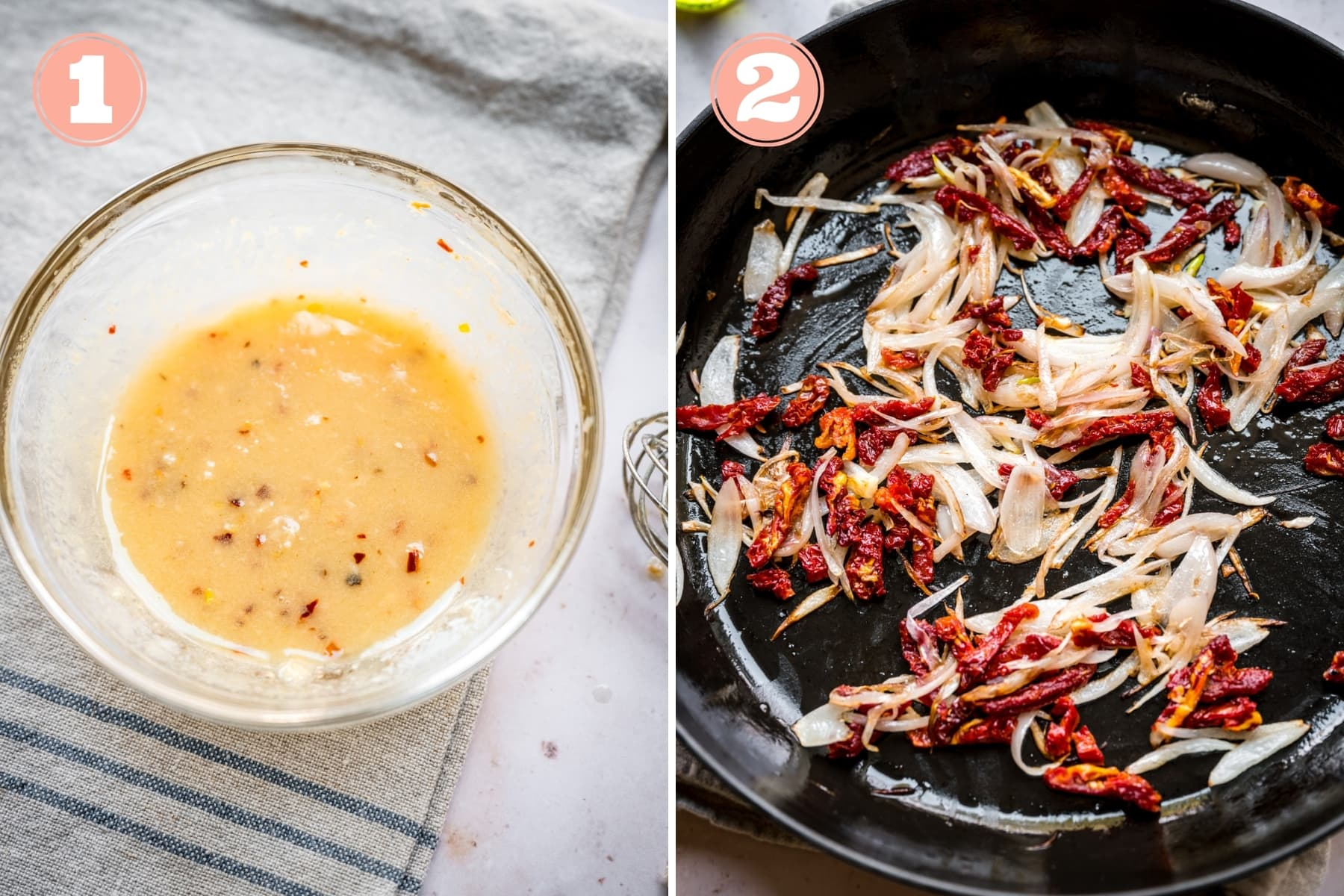 on the left: garlic olive oil dressing in a bowl. on the right: sautéed shallots and sun dried tomatoes.