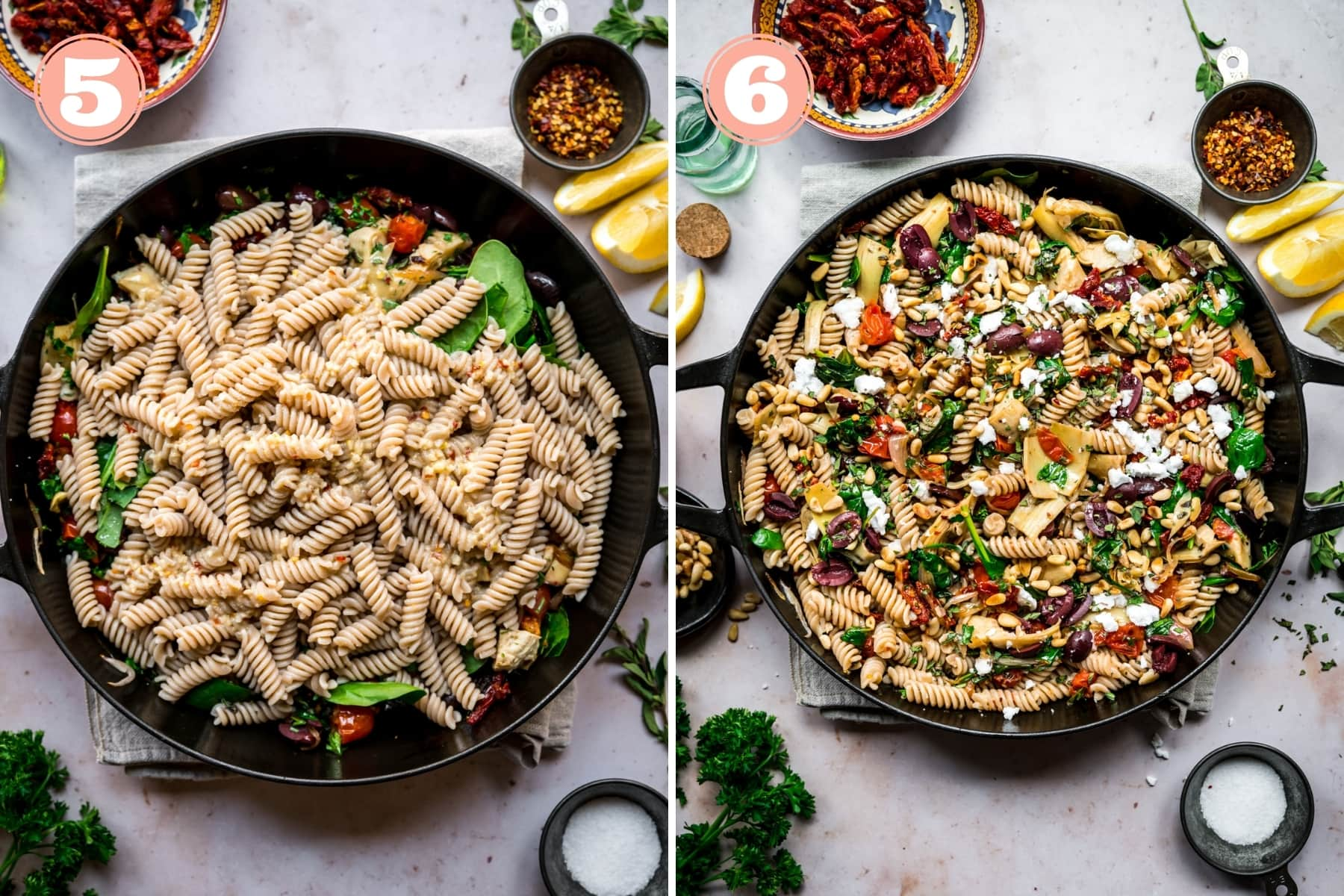 before and after stirring together greek pasta.