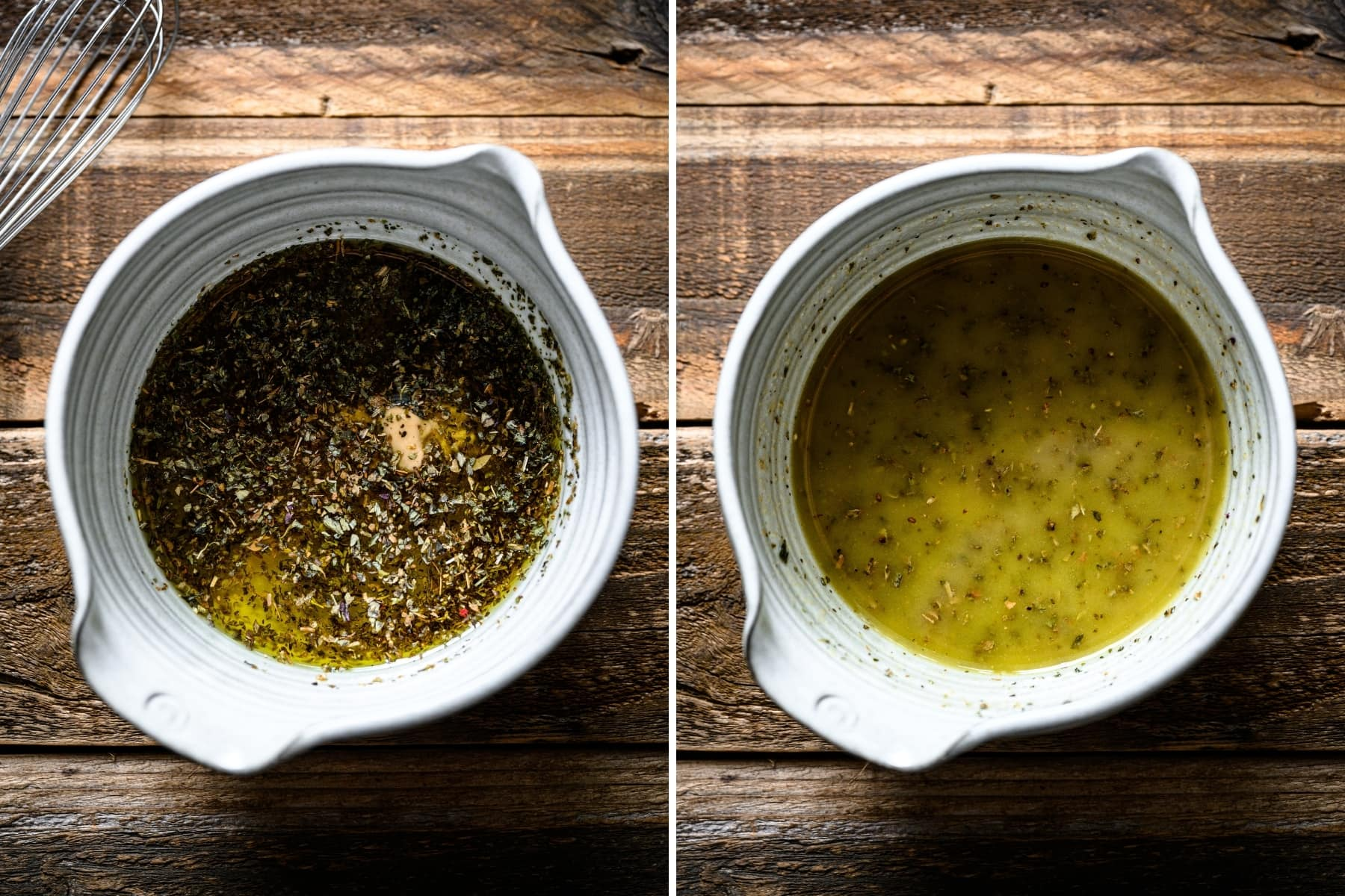 before and after whisking together italian dijon herb vinaigrette.