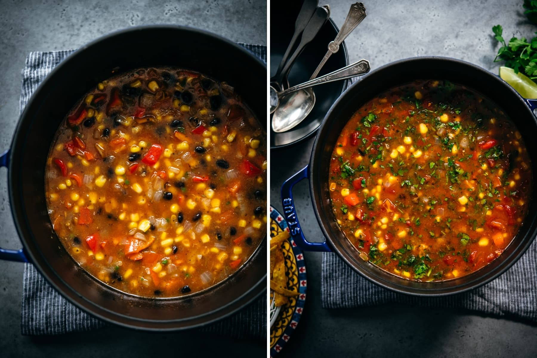before and after vegan tortilla soup has been cooked in large pot.