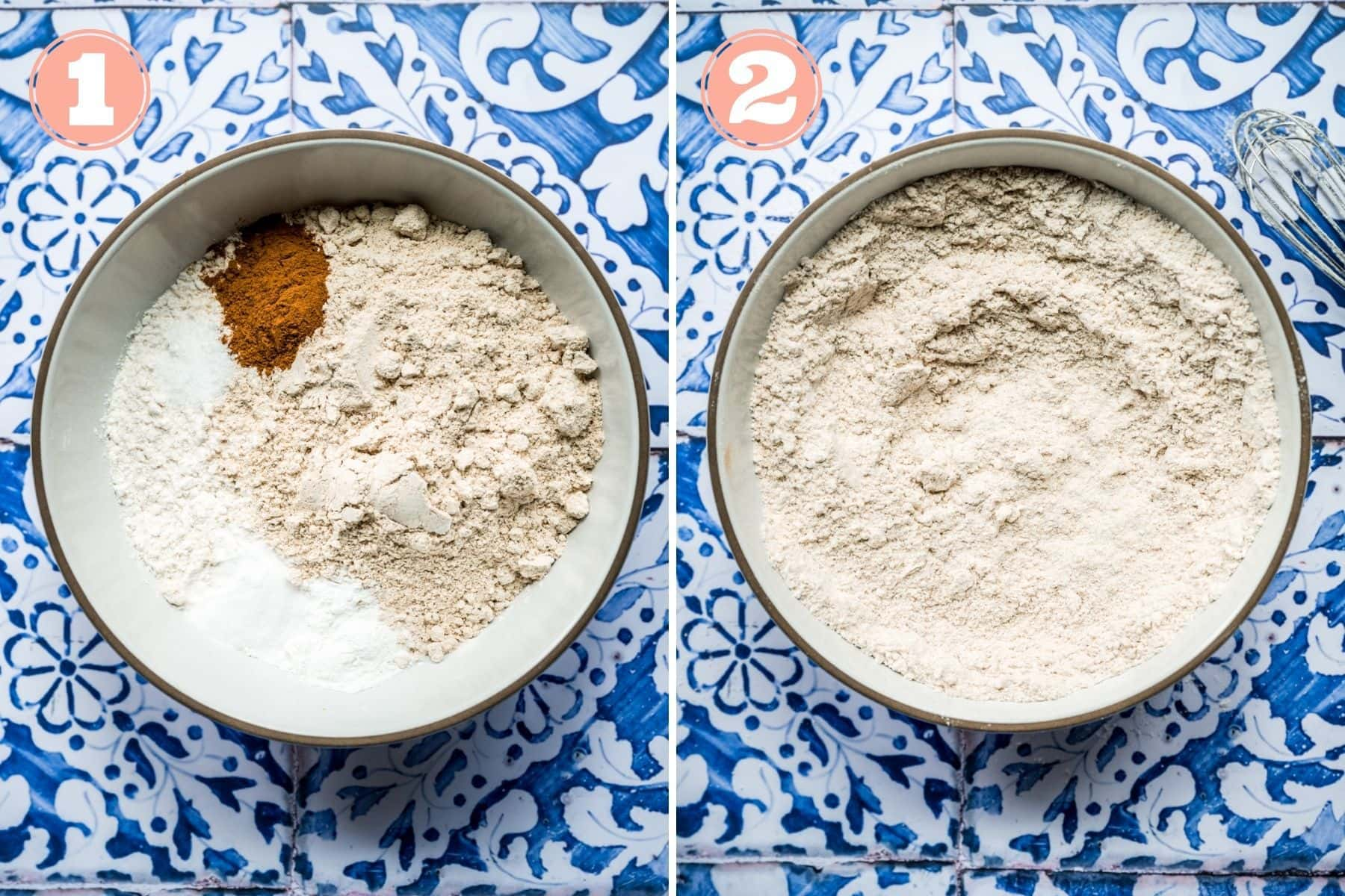before and after mixing together dry ingredients for blueberry muffins in bowl.