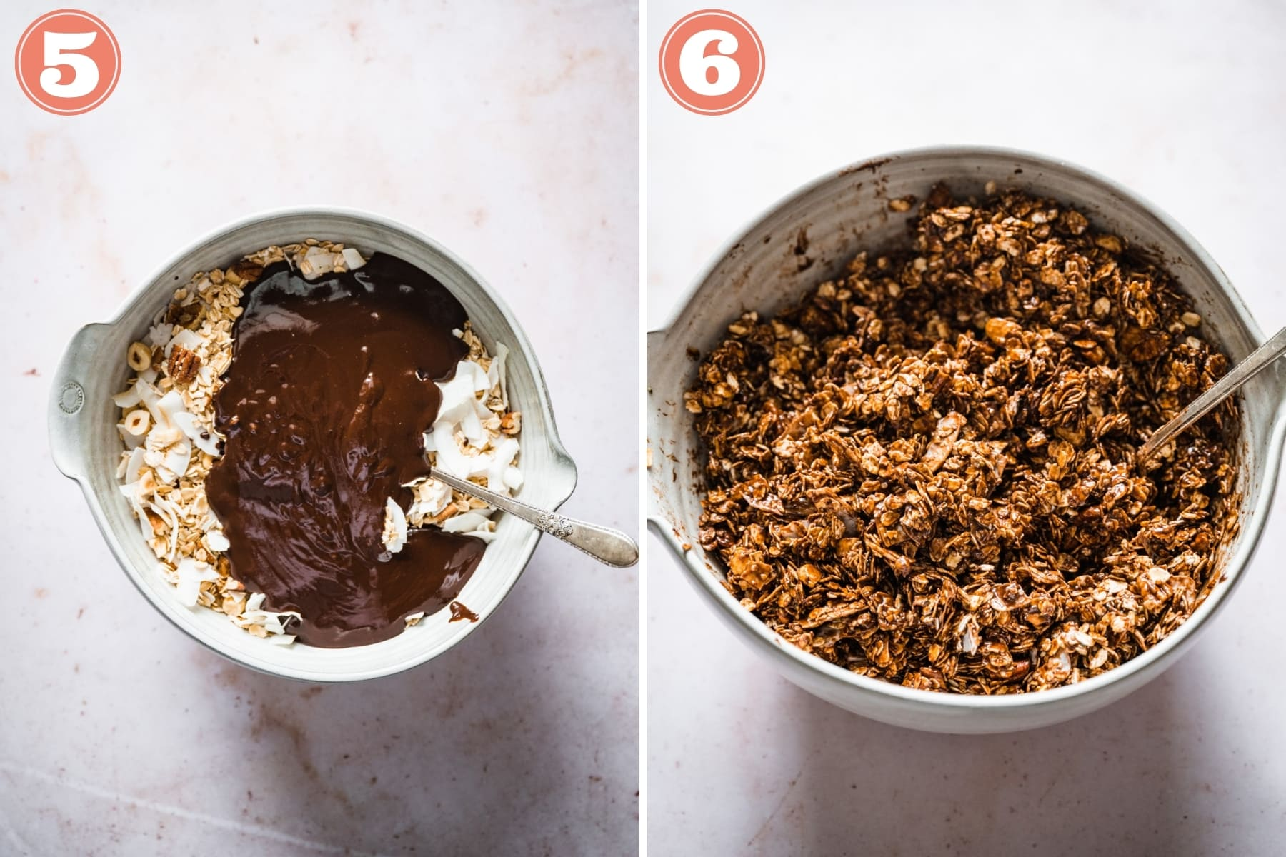 before and after stirring together wet and dry ingredients for chocolate hazelnut granola.