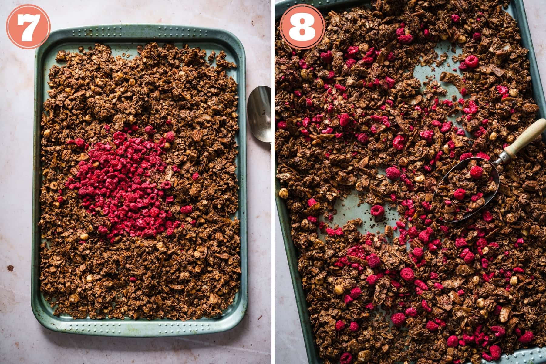 before and after adding freeze-dried raspberries to chocolate hazelnut granola.