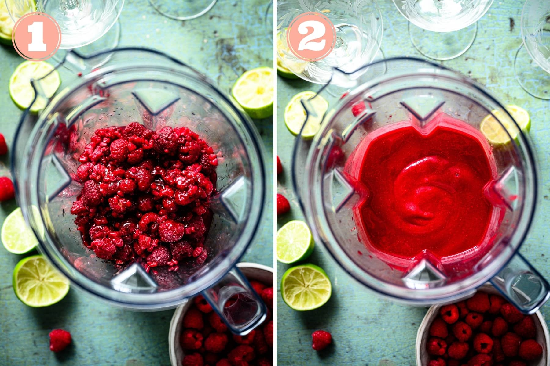 before and after blending raspberry daiquiri in blender.