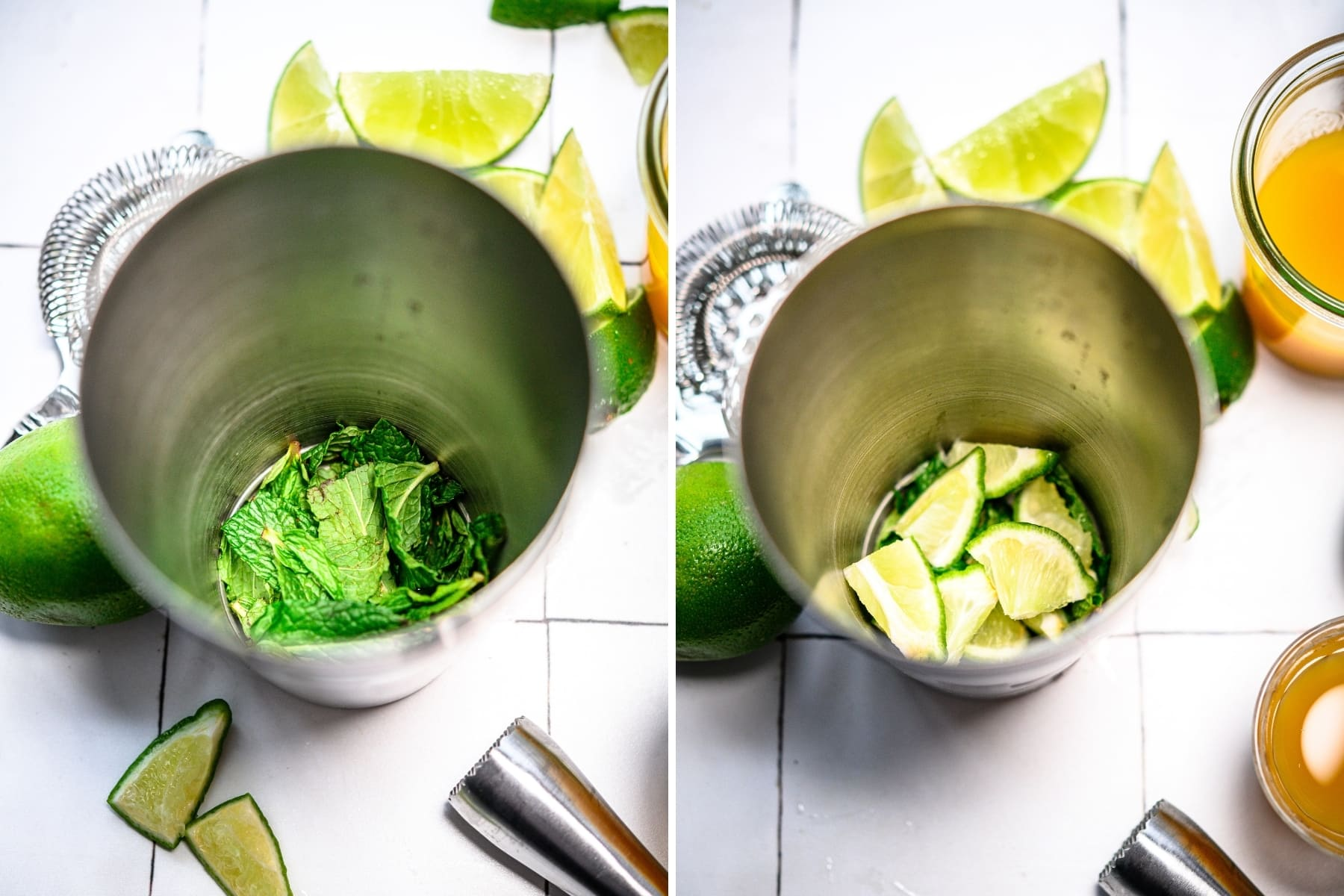 on the left side: mint in cocktail shaker. On the right side, mint and limes in cocktail shaker.