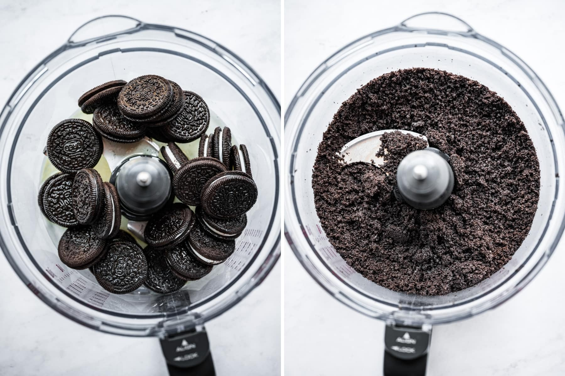before and after pulsing together oreos for pie crust.