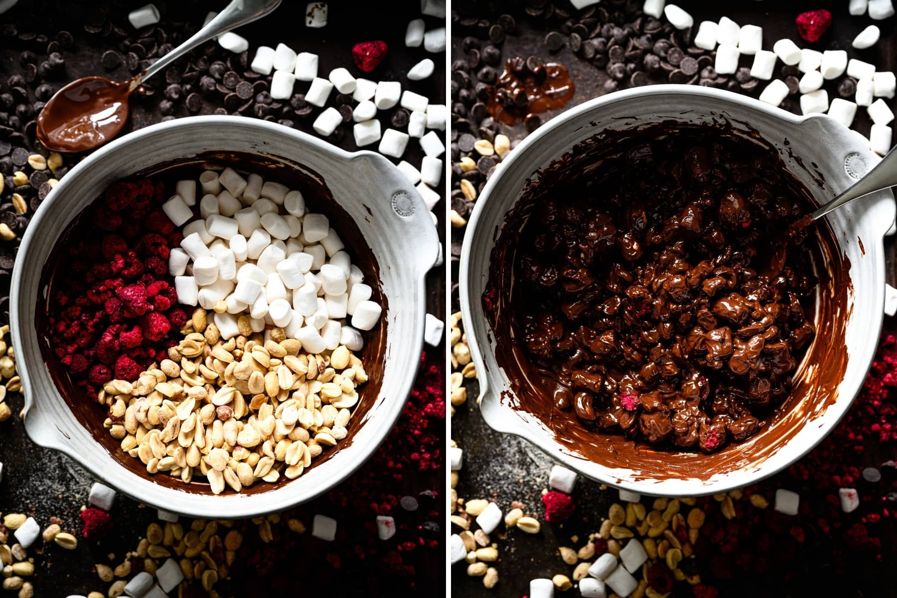 overhead view of dark chocolate peanut clusters before and after mixing together.