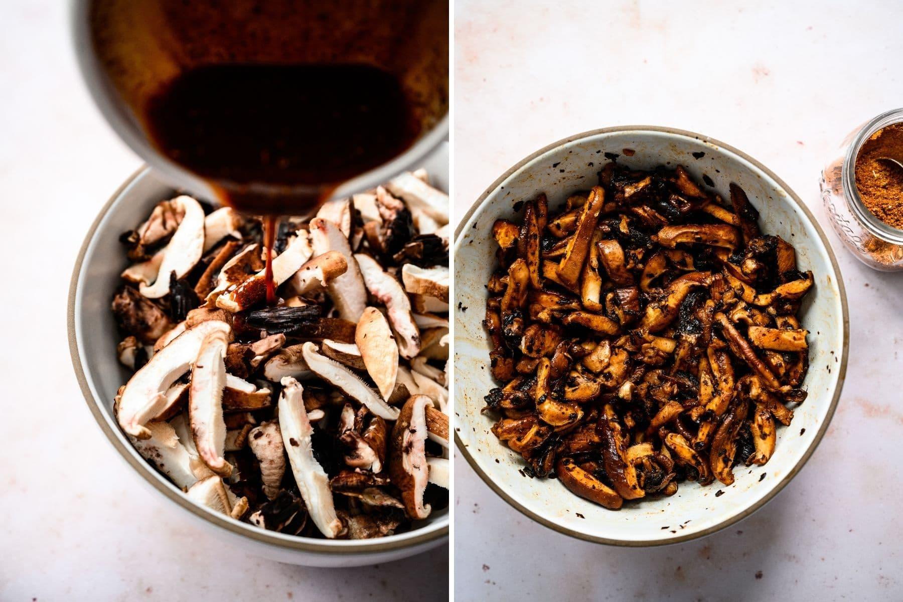 before and after marinating mushrooms in homemade shawarma marinade.