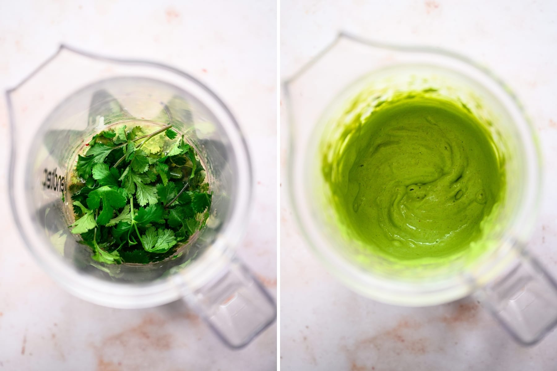 before and after blending cilantro tahini sauce.