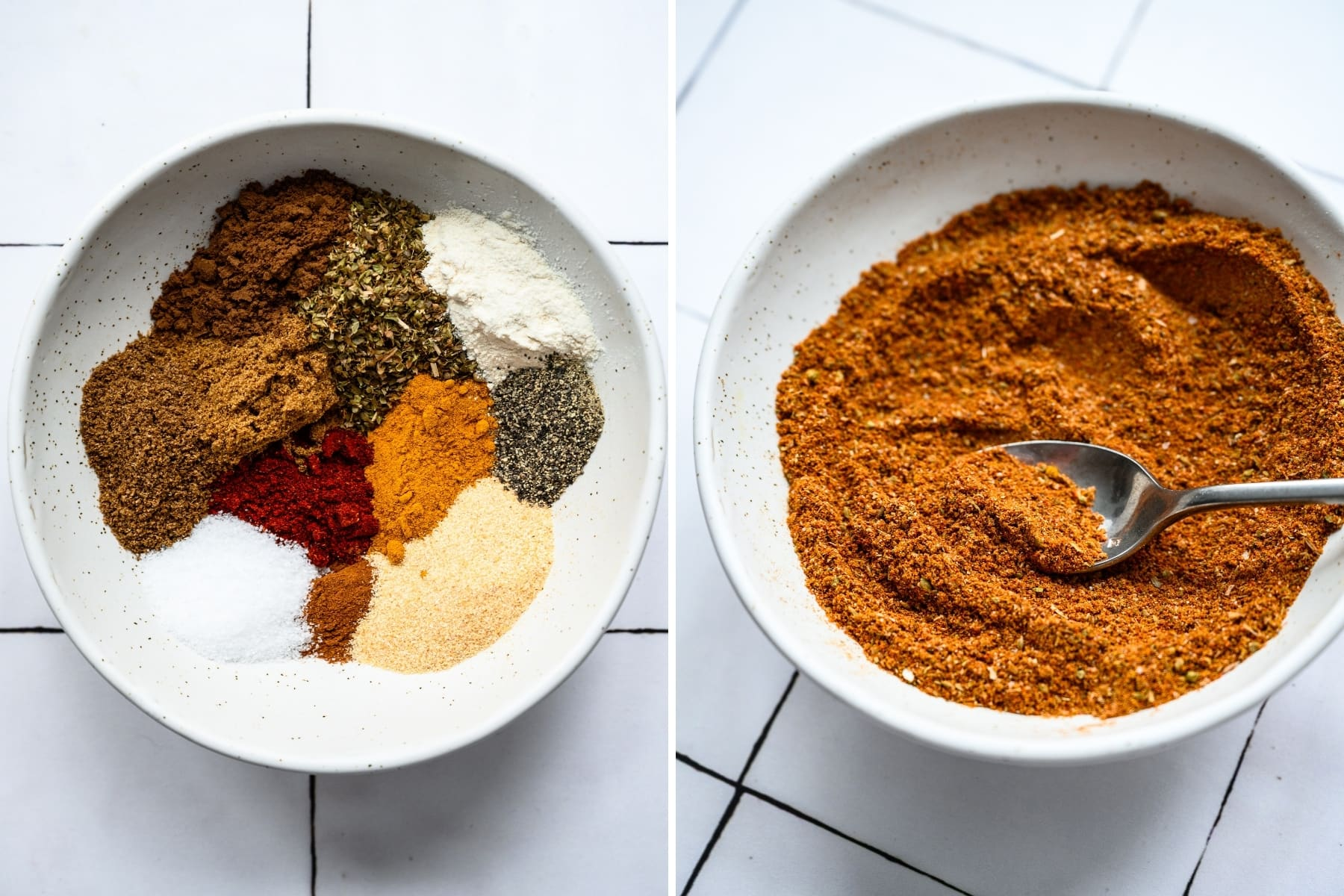 before and after stirring together spices for shawarma spice blend.