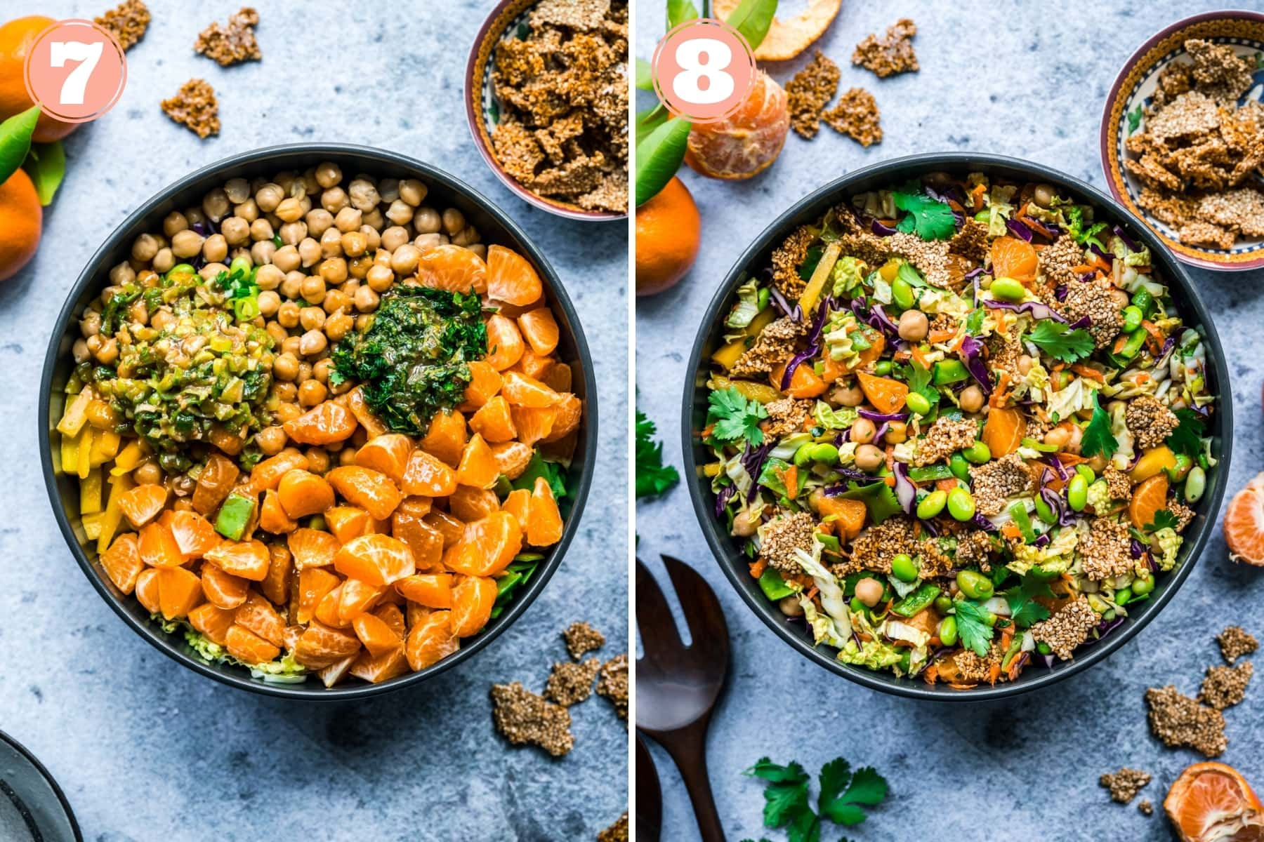 before and after mixing together ingredients for sesame chickpea salad in a large serving bowl.