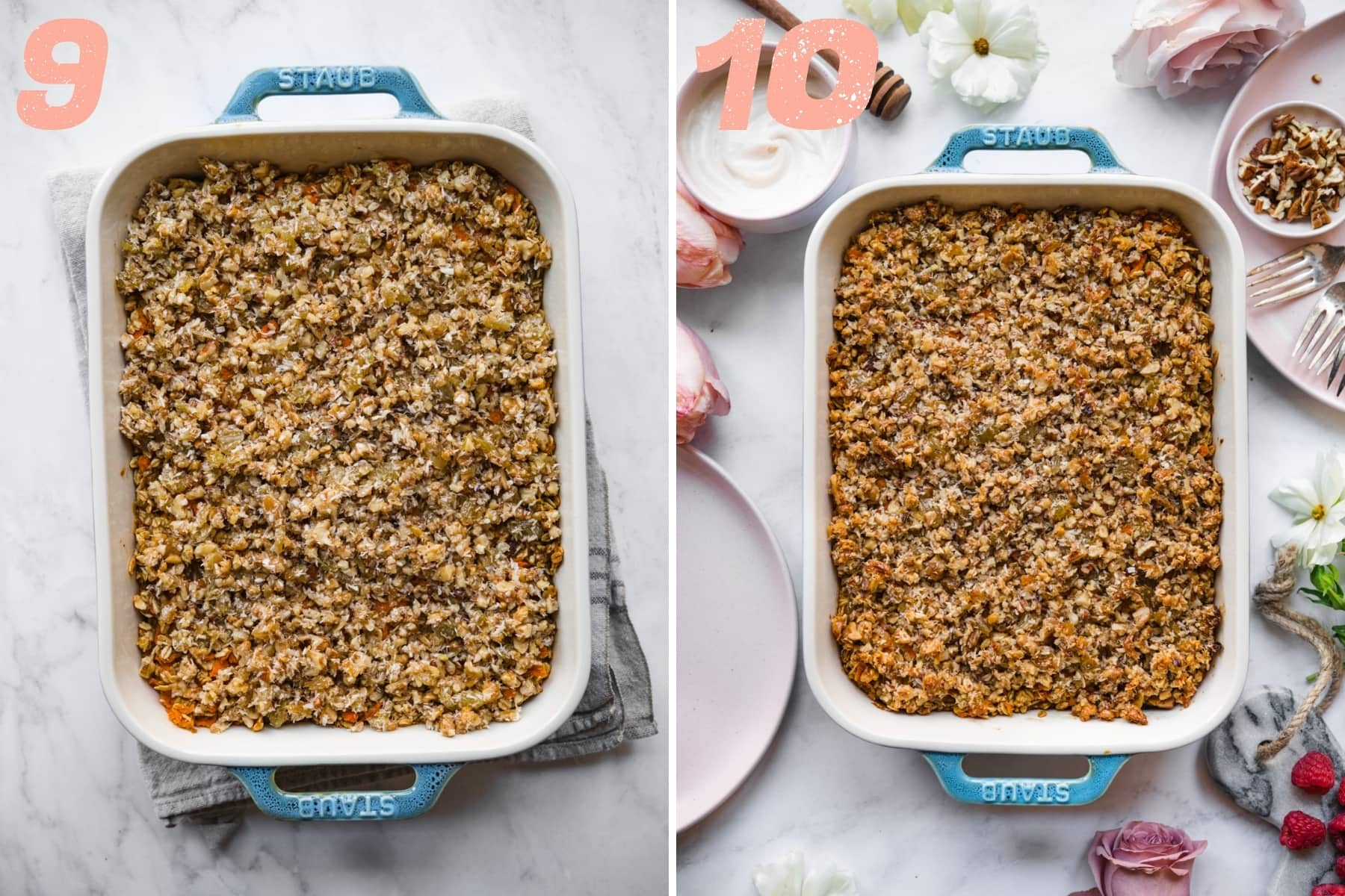 before and after baking carrot cake baked oatmeal.