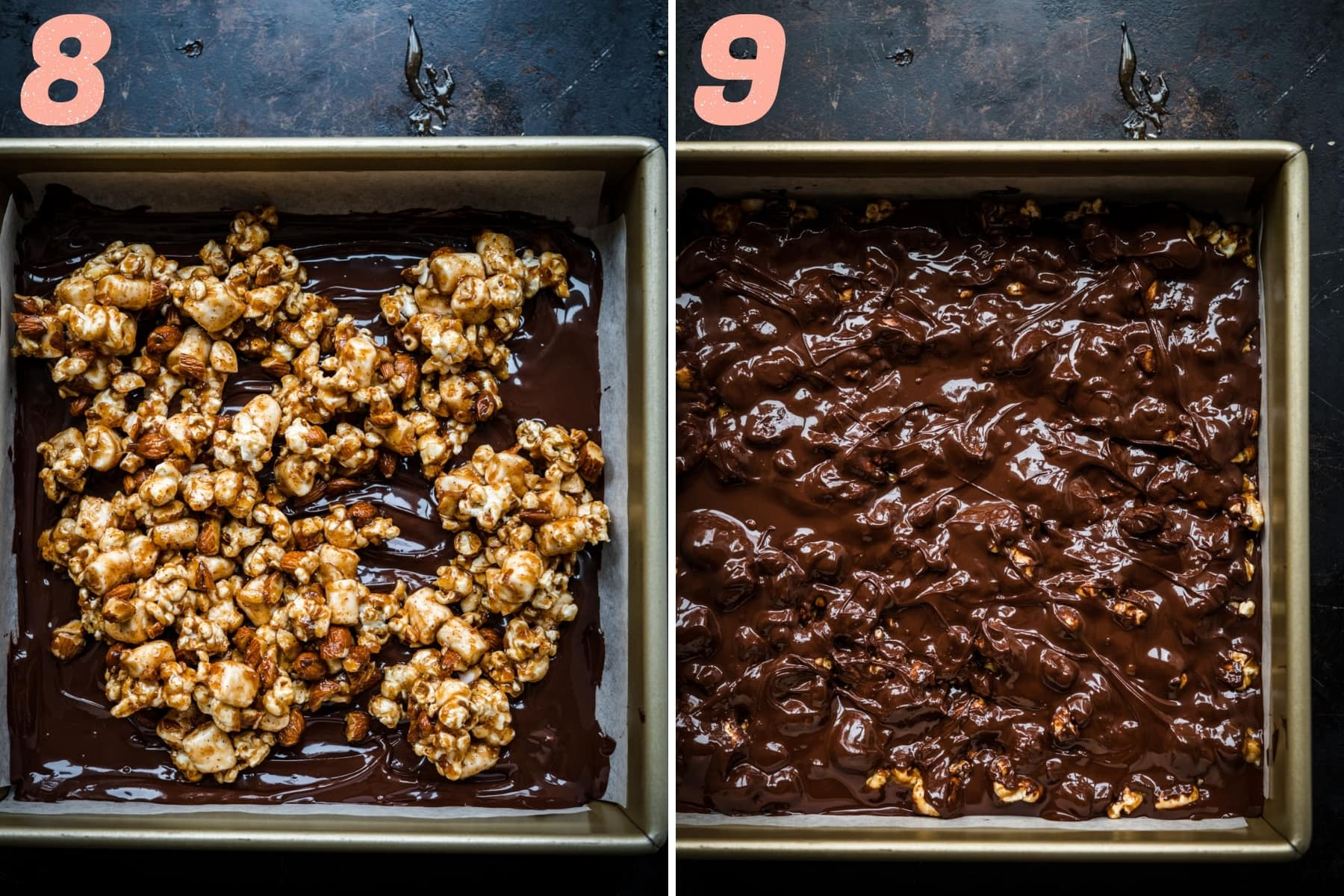 layering in popcorn nut caramel mixture with dark chocolate to form bars.