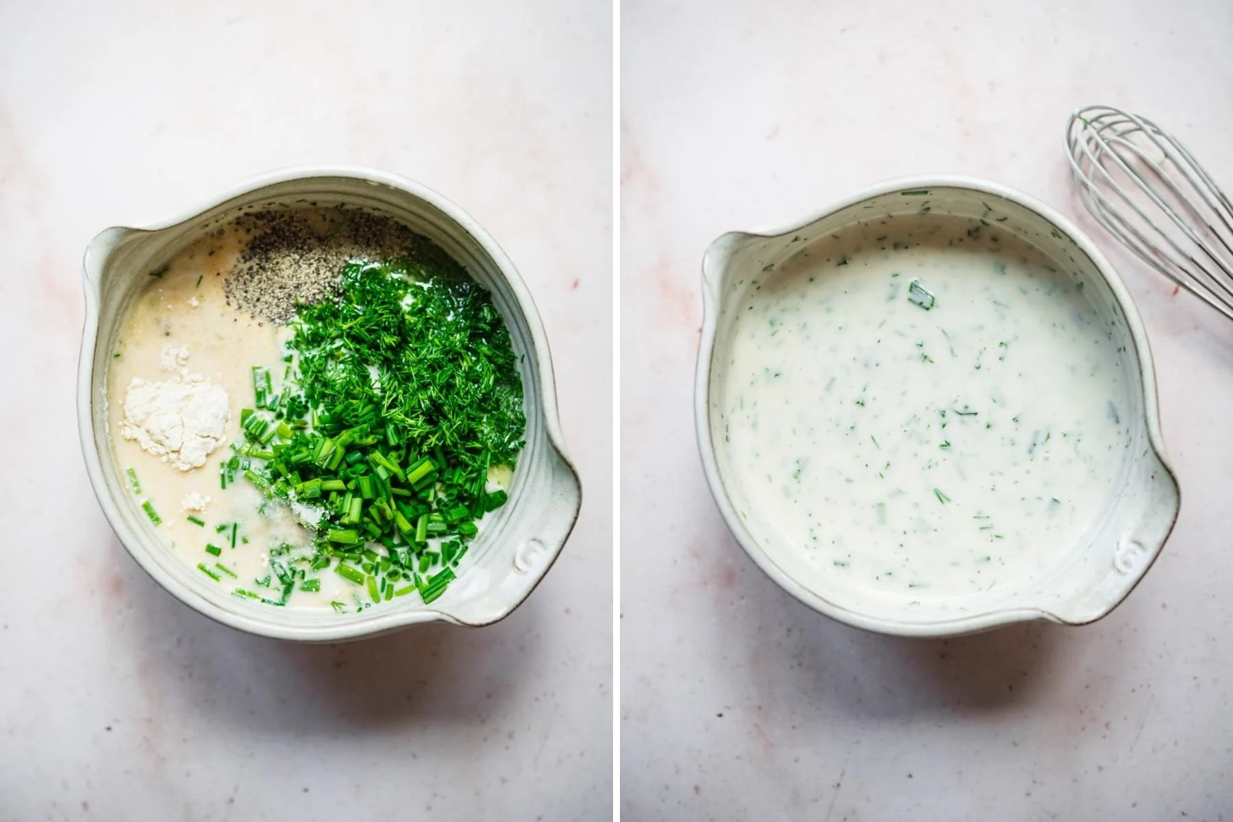 before and after whisking together ingredients for vegan ranch dressing.
