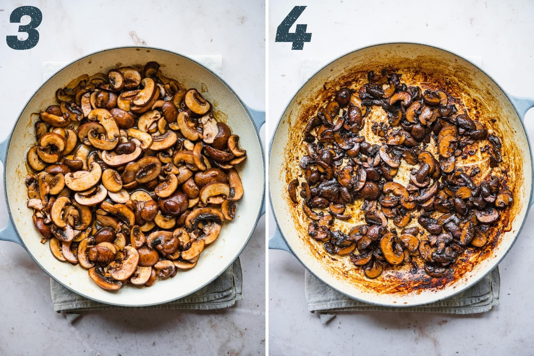 before and after cooking vegan mushroom bacon in pan.
