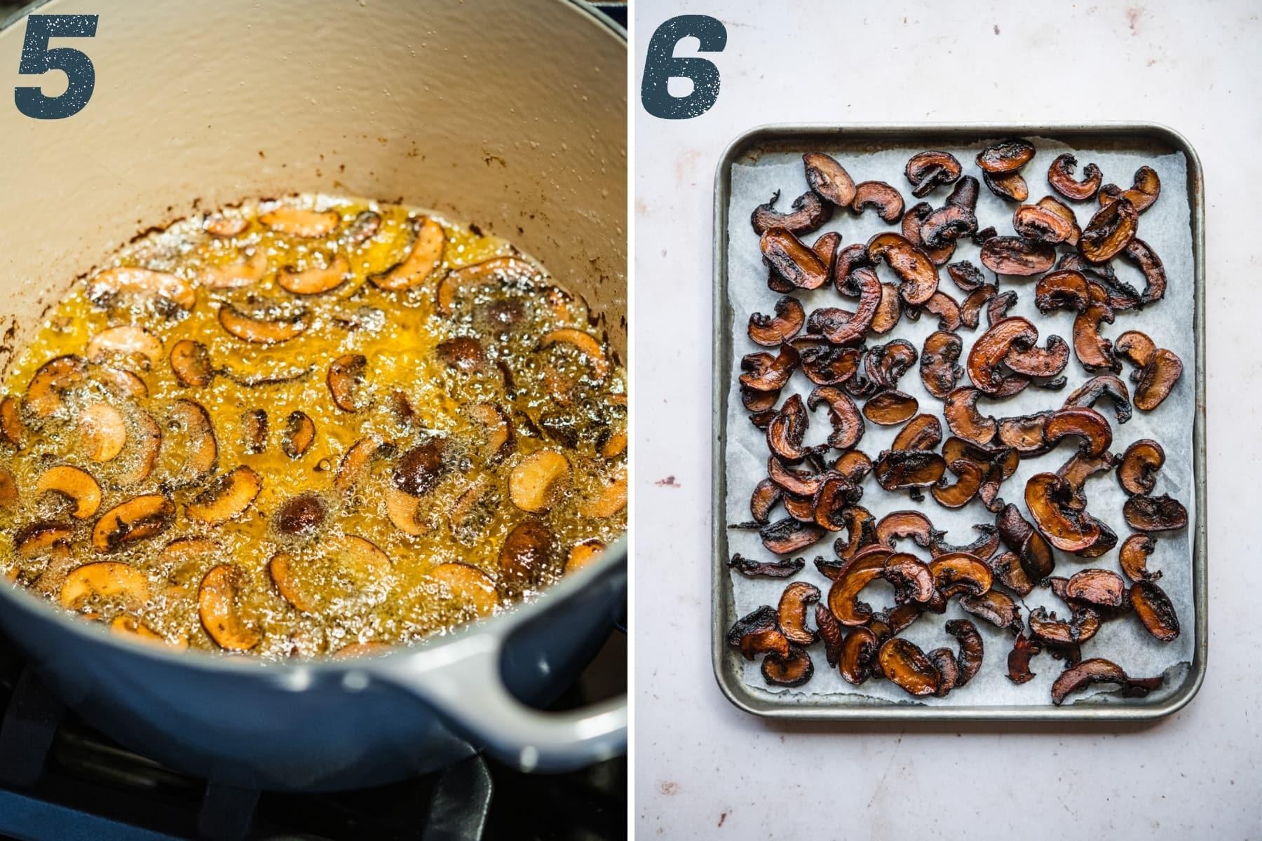 on the left: vegan mushroom bacon in frying pan. on the right: vegan mushroom bacon on parchment paper.