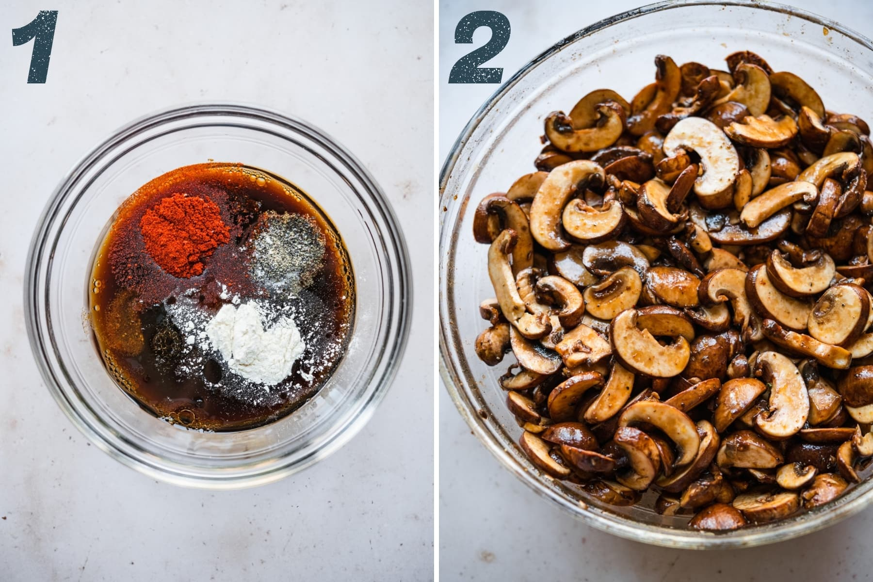 on the left: marinade ingredients for mushroom bacon in bowl. on the right: mushrooms being marinated.