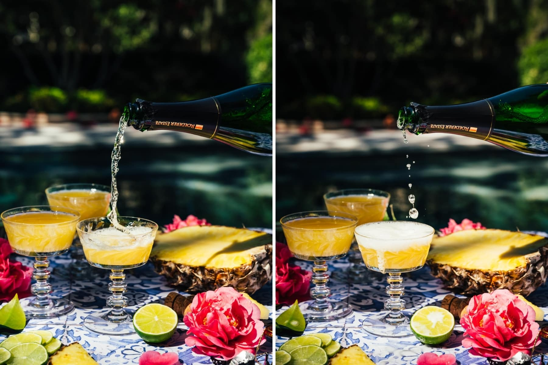 pouring champagne into pineapple mimosas.