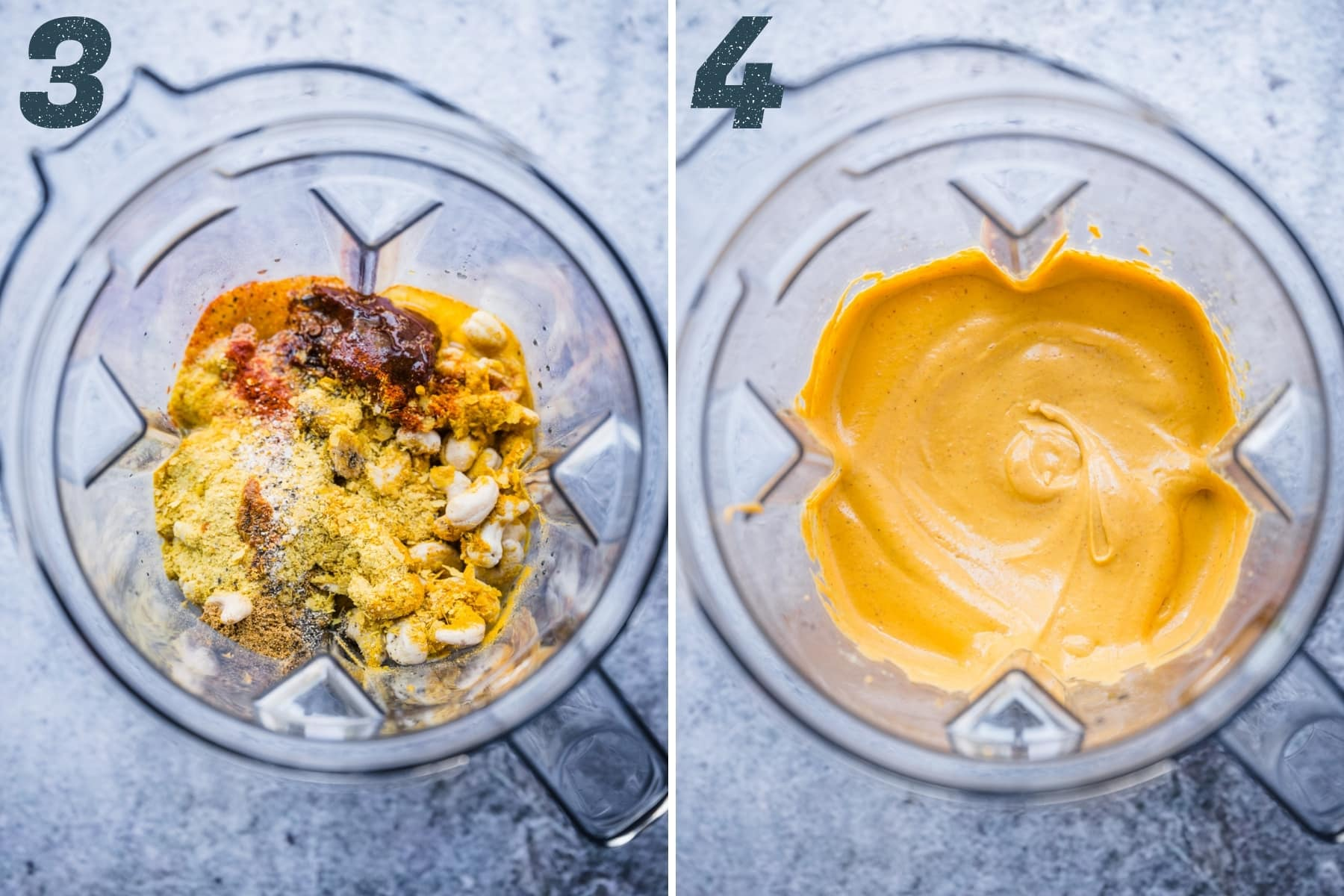 before and after blending ingredients for vegan queso dip.