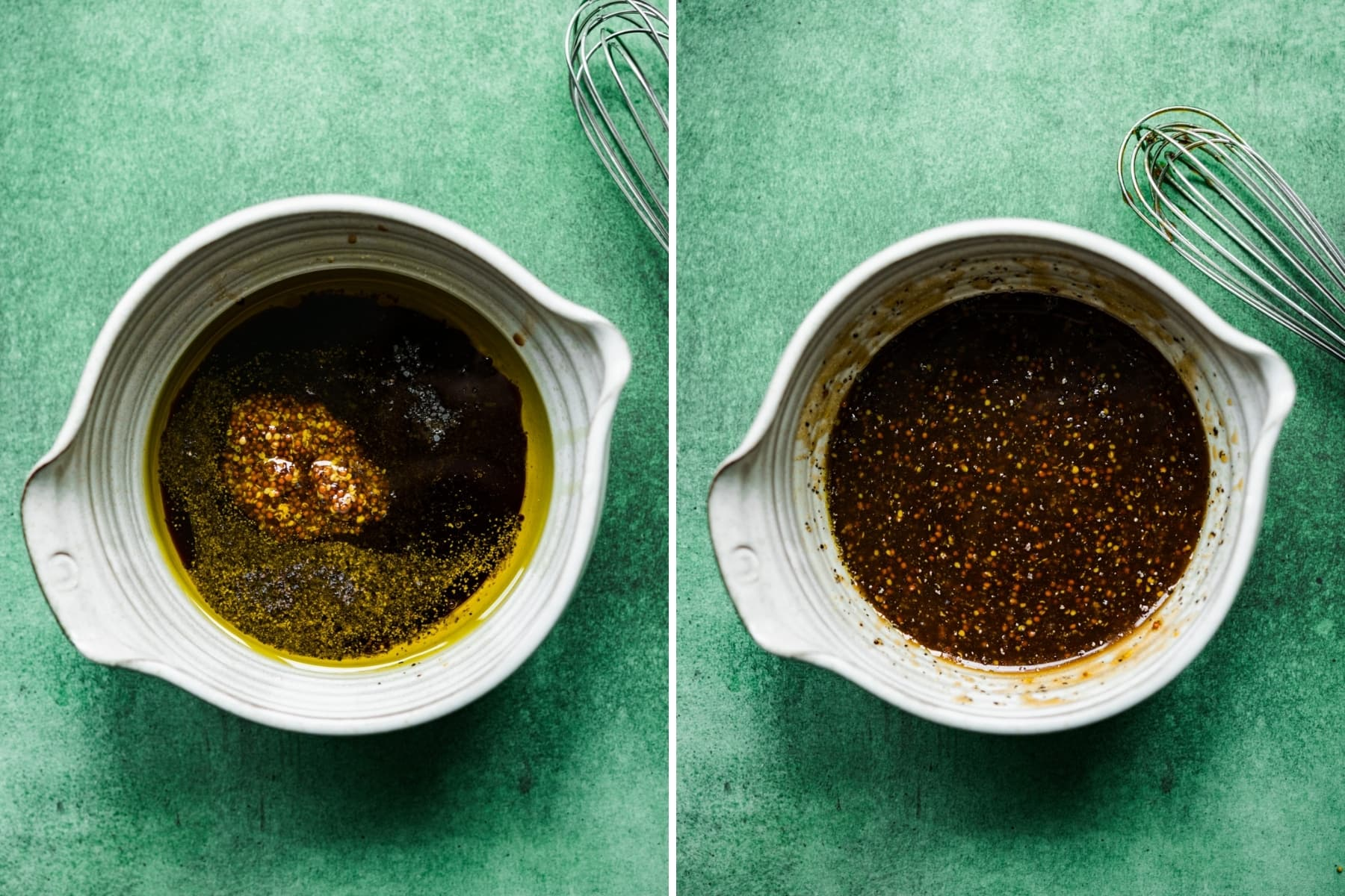 before and after whisking together ingredients for whole grain mustard balsamic vinaigrette.