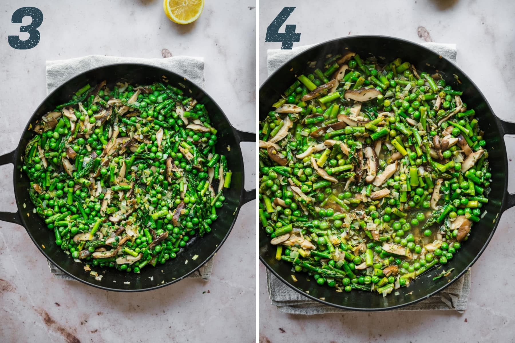 before and after adding broth, lemon juice and white wine to sautéed asparagus, peas and mushrooms in a large cast iron skillet.