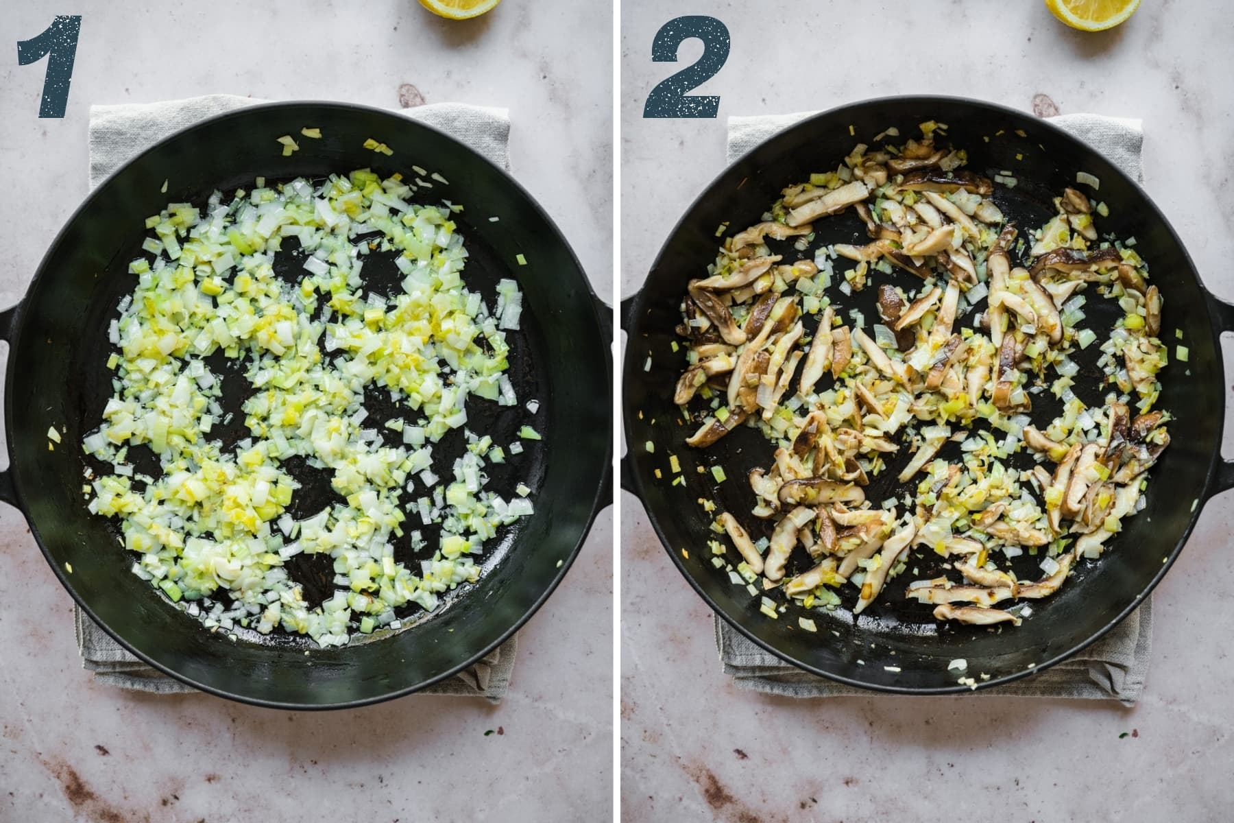 before and after adding mushrooms to sautéed leeks and garlic in a large cast iron skillet.