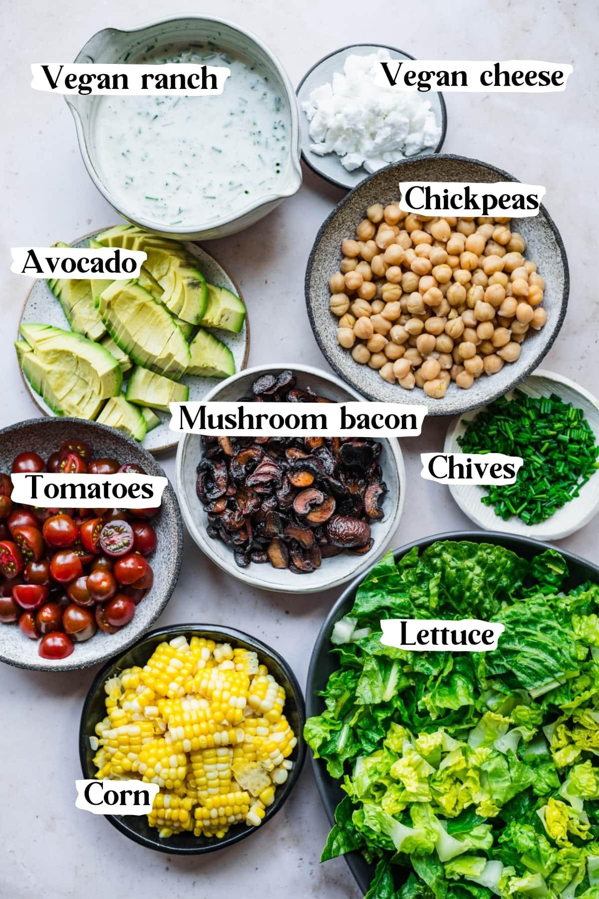 overhead view of ingredients for vegan cobb salad.