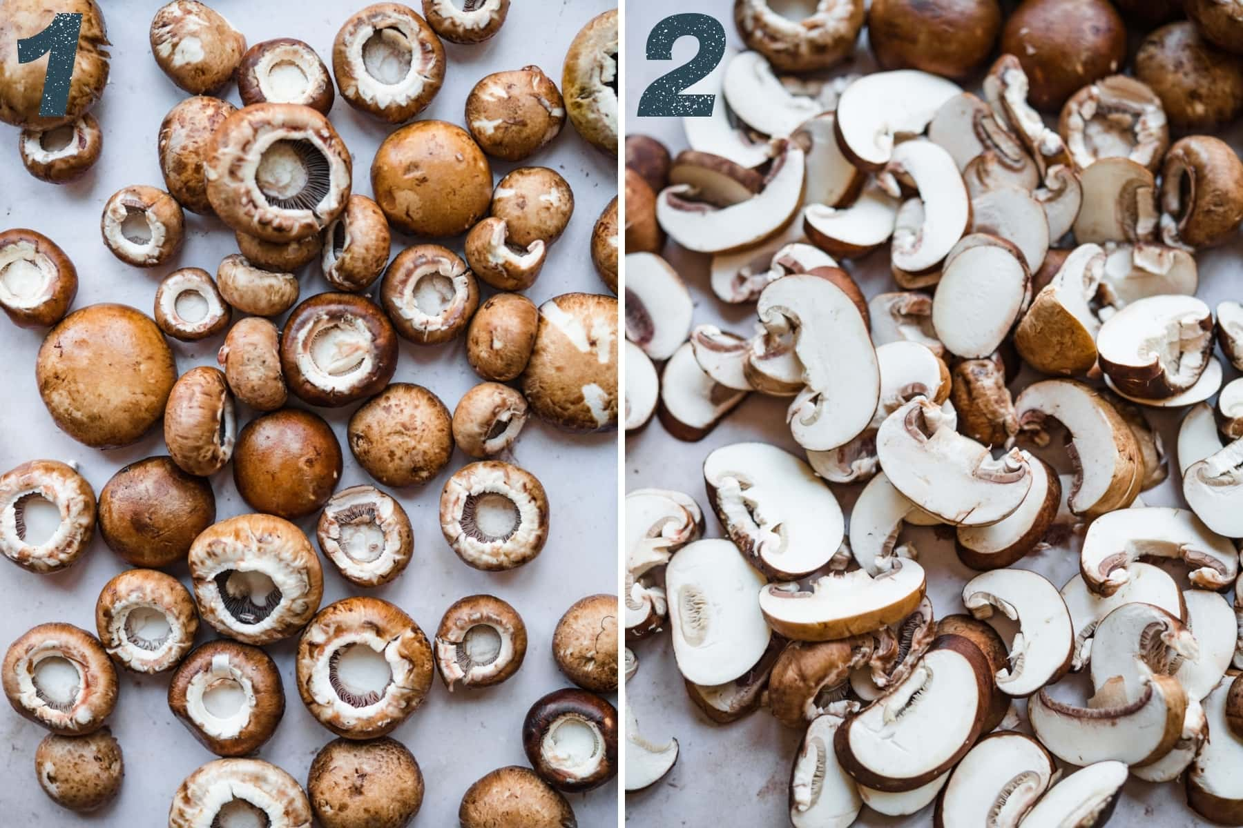 Cremini mushrooms before and after slicing.
