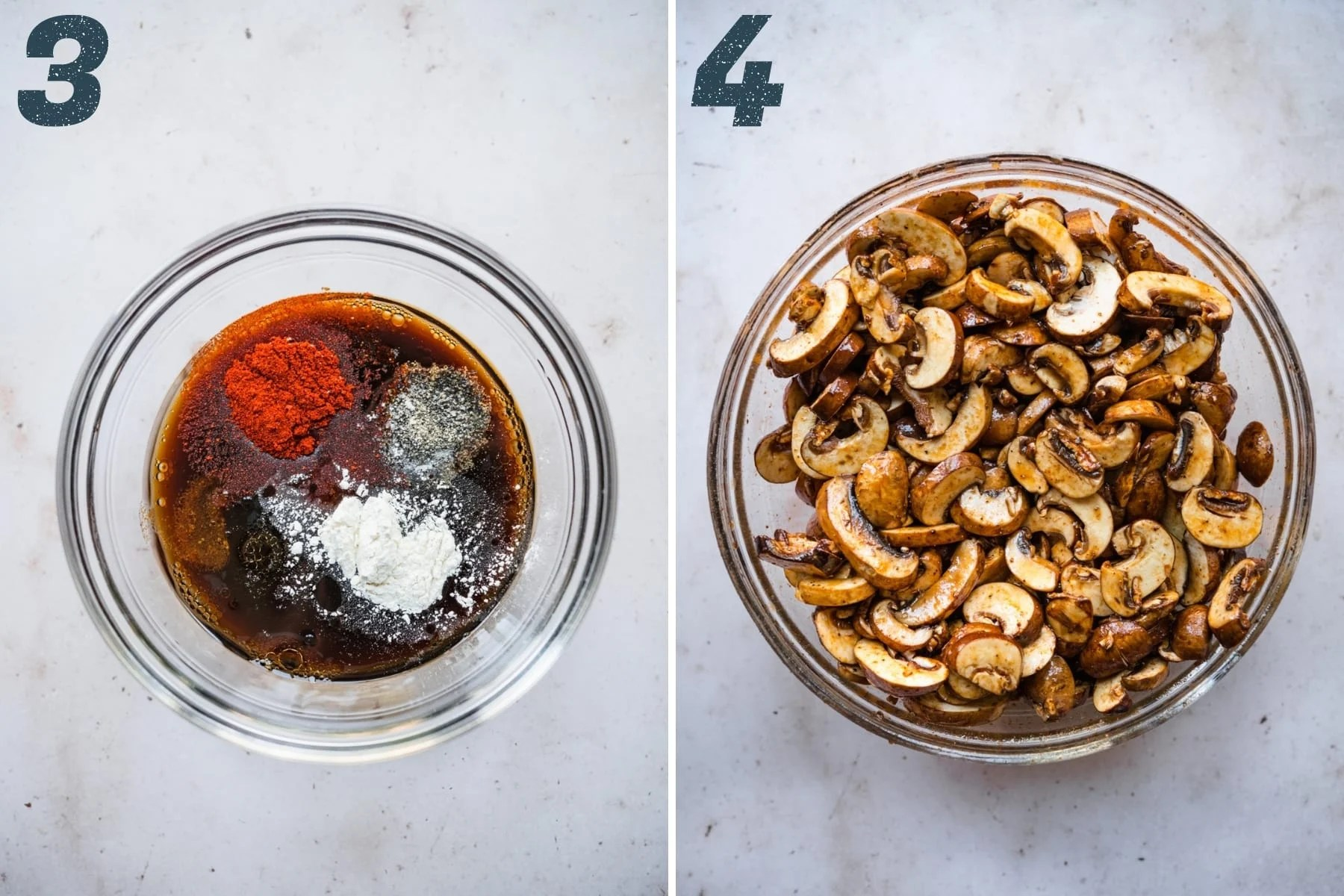 on the left: ingredients for soy sauce marinade for mushroom bacon. On the right: mushrooms tossed in marinade in bowl.