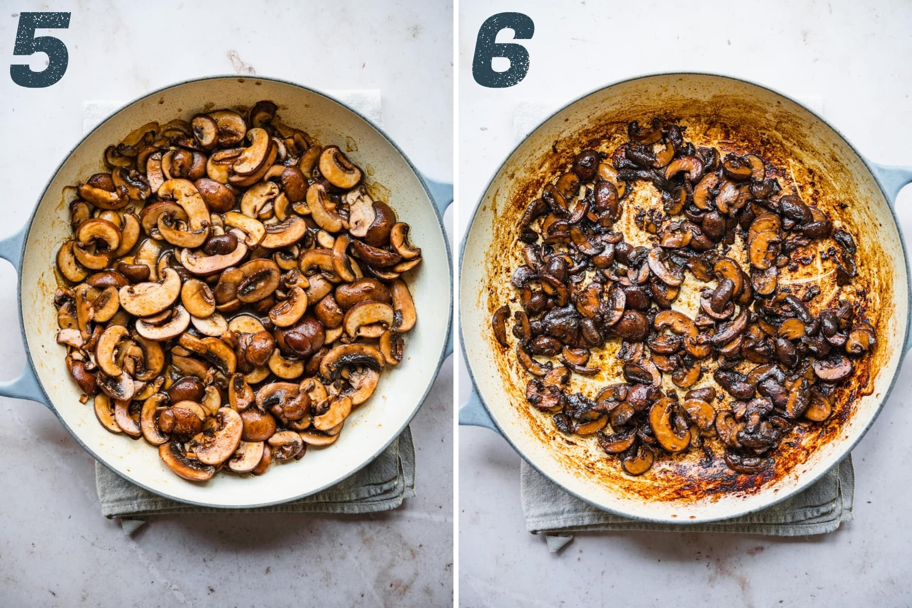before and after cooking down mushroom bacon in sauté pan.