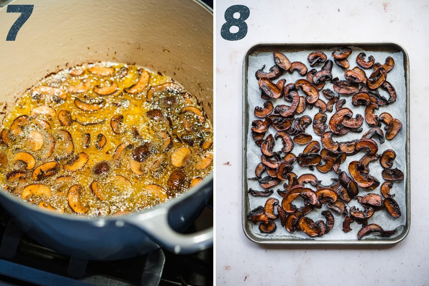 on the left: mushroom bacon deep frying in oil. on the right: mushroom bacon on a sheet pan with parchment paper.