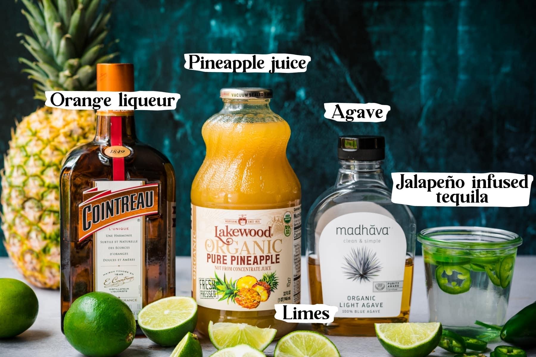 side view of ingredients for pineapple jalapeño margaritas.