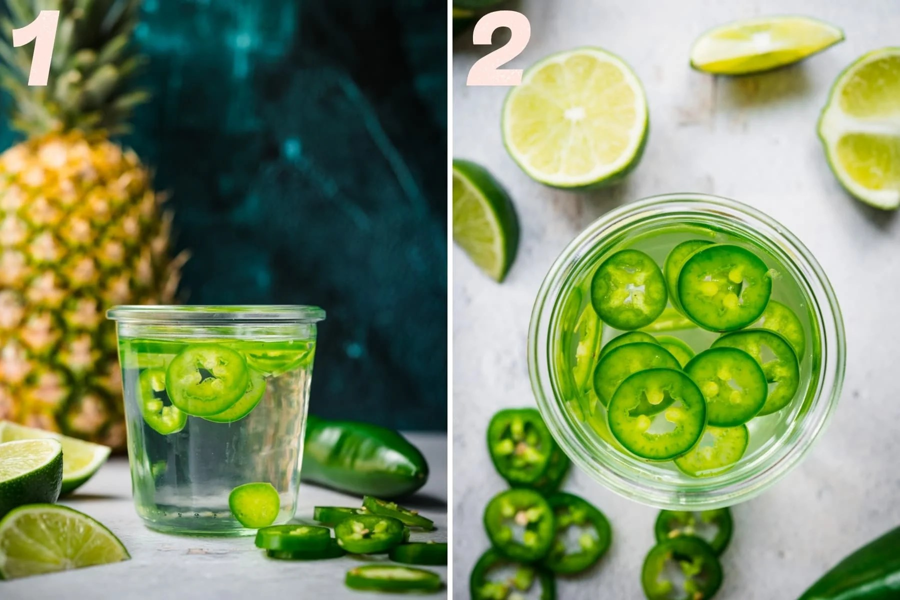side view and overhead view of jalapeño infused tequila in a small jar.