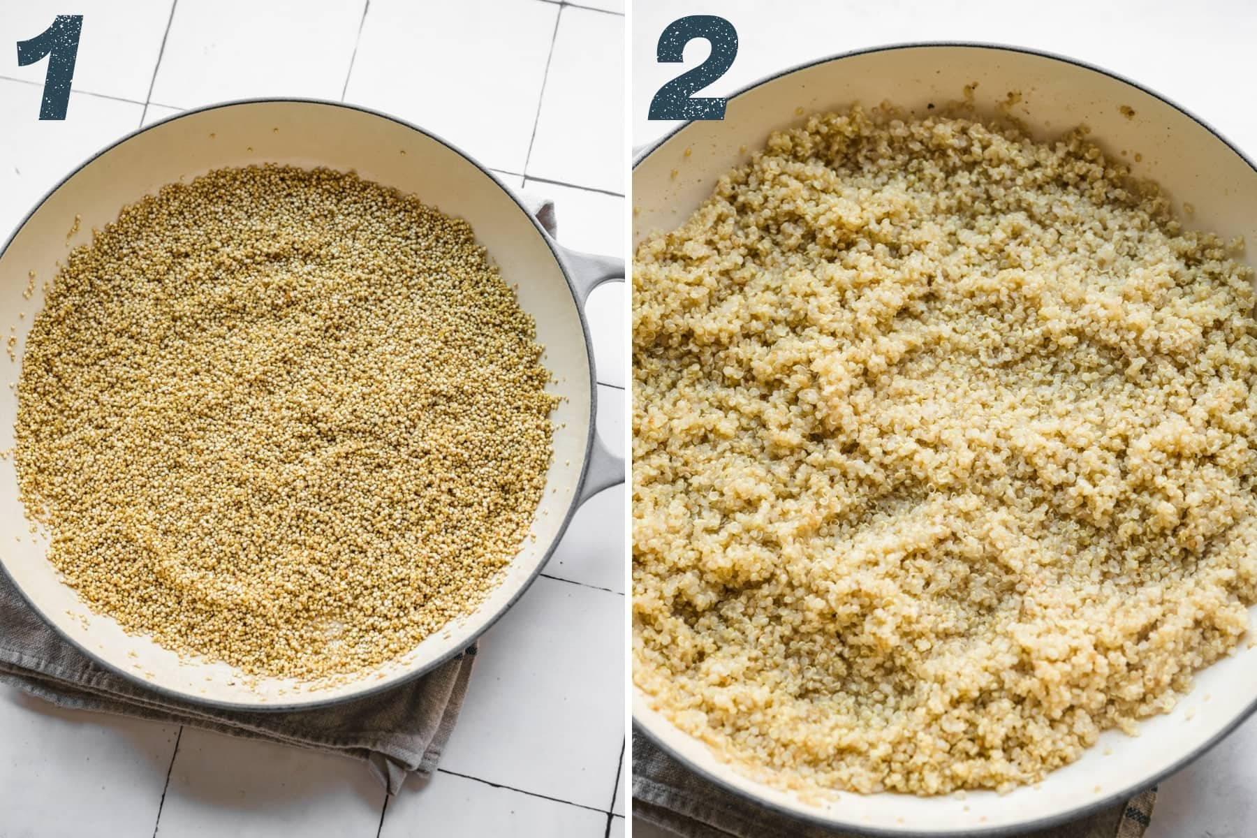 before and after cooking quinoa.
