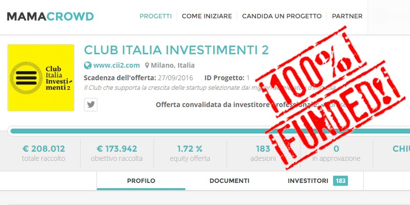Mamacrowd Club Italia Investimenti campagna equity chiusa con successo