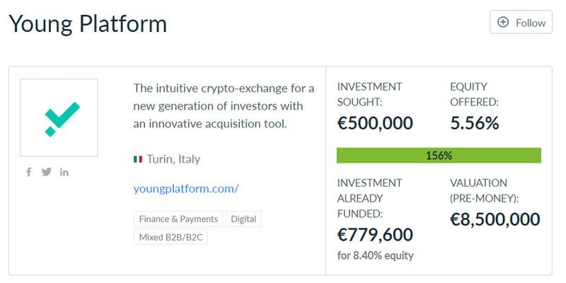 Young platform startup italiana raccoglie 800k equity crowdfunding UK
