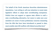 NASAA Letter Quote North American Securities Administrators Association