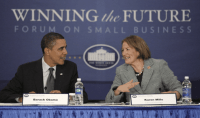 Karen Mills and Barack Obama