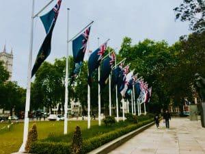 Parliament Square Westminster London UK Britain Flag