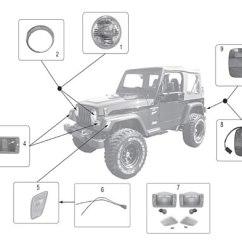 2004 Jeep Wrangler Radio Wiring Diagram 2002 Gmc Sierra 2005 Grand Cherokee Rear Light Harness Diagrams Lamps 97 06 Crown Automotive Sales Co Trailer Hitch Kit