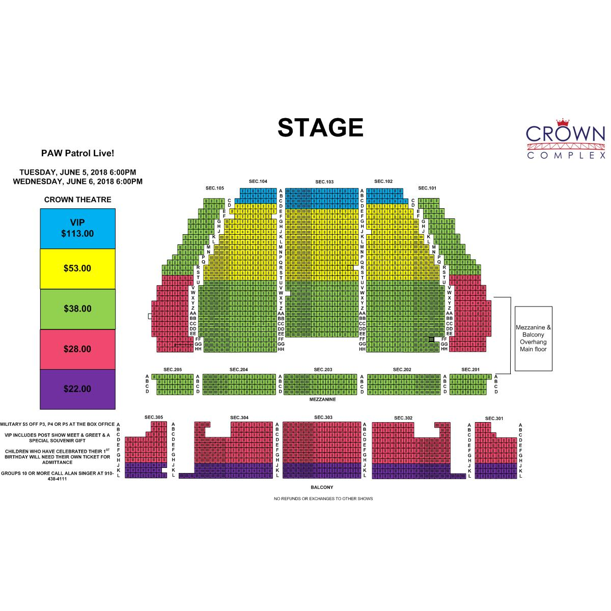 Crown Coliseum Interactive Seating Chart