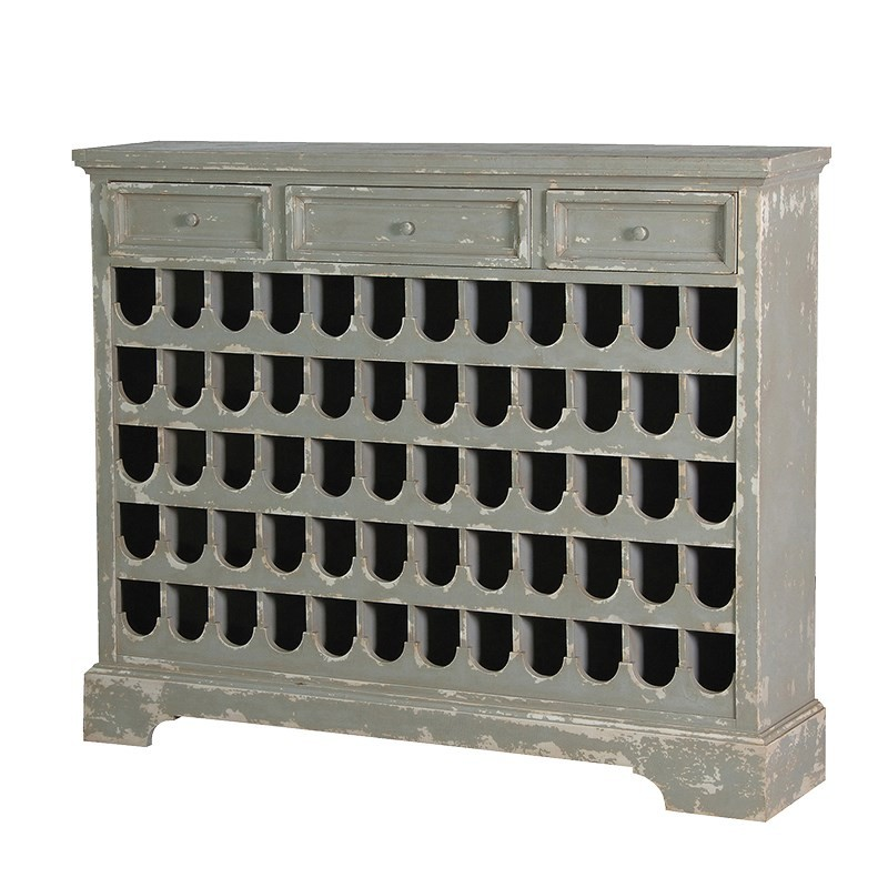 Grey Distressed 60 Bottle Wine Rack Crown French Furniture