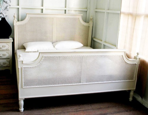 Louis Painted French Style Rattan Bed Crown French Furniture