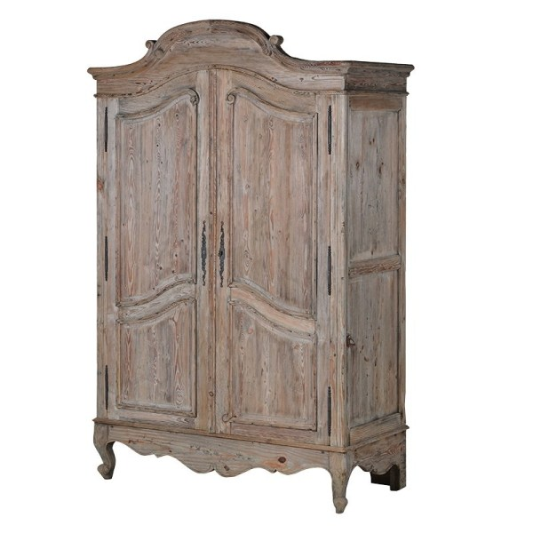 country style bedroom armoire Giselle Reclaimed Pine Armoire - Crown French Furniture