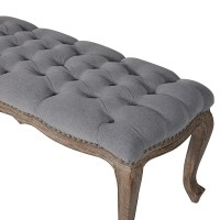 Grey Fabric Button Bench | Grey Upholstered Bench | Bed ...