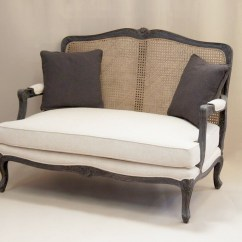 French Sofas And Chairs Extra Deep Sofa Canada Louis 2 Seater With Rattan Back Style