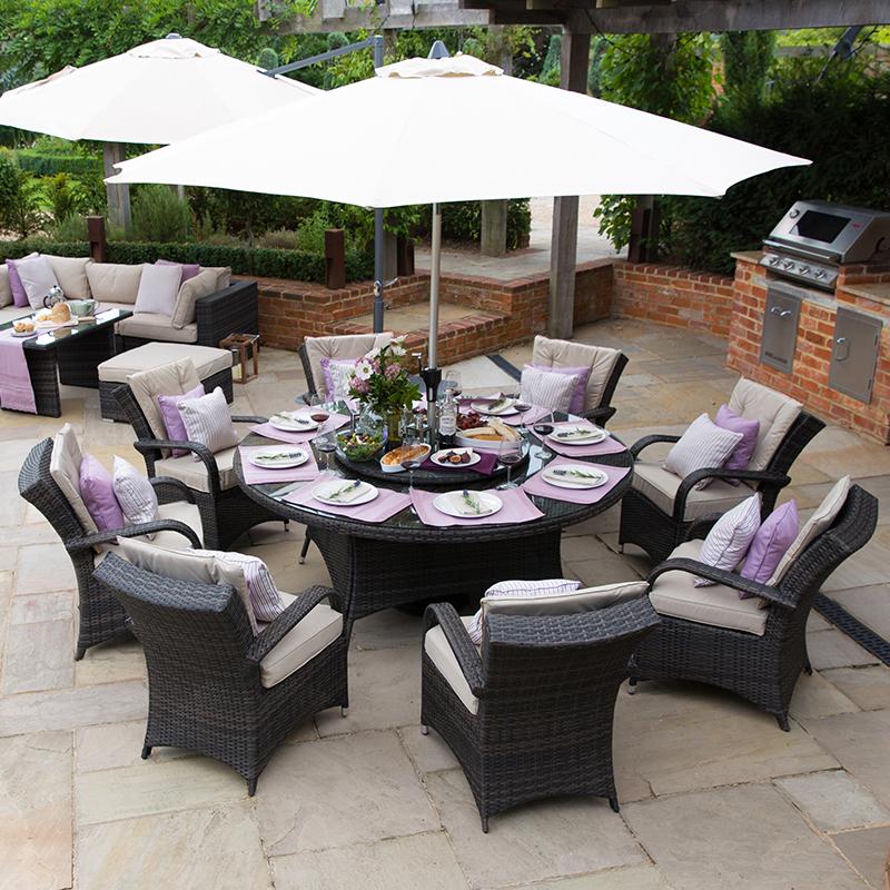 nova olivia 8 seat rattan dining set 1 8m round table brown