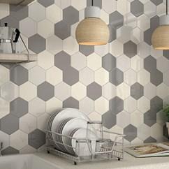 Kitchen Wall Tile Black Hutch Tiles Floor Splitface Hexagon