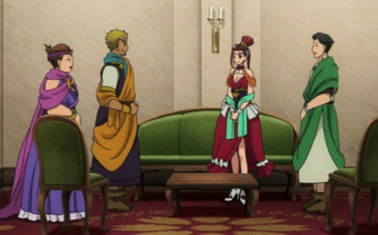 Pina introduces the Japanese Foreign Ministry official to Lord Cicero, who thinks the man is simply a representative from a local country. Capture from Crunchyroll's stream.