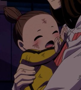 Jirou's suspicions are aroused when a baby who supposed just survived an explosion laughs without a care. Capture from the Funimation stream.